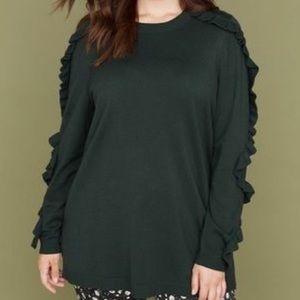 Lane Bryant Green Ruffle Sweater 18/20 NWT